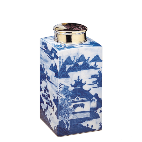 $245.00 Blue Canton Tea Jar, Small