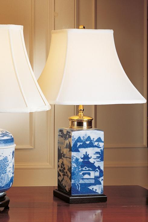 $500.00 Blue Canton Small Tea Jar Lamp