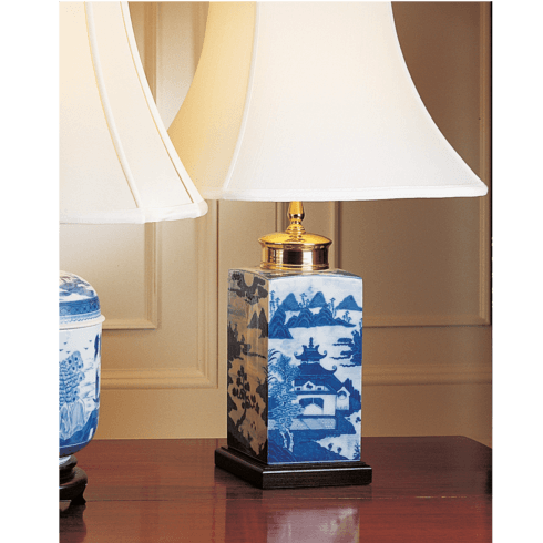 $575.00 Blue Canton Tea Jar Lamp, Small