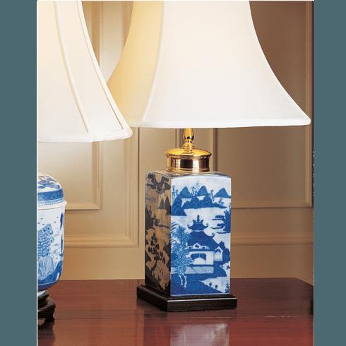 $575.00 Blue Canton Tea Jar Lamp, Small