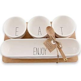 Dip Bowls Wood Tray Set collection with 1 products