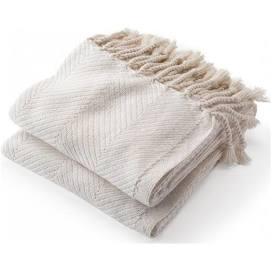 $243.00 Monhegan Cotton Throw in Natural/White