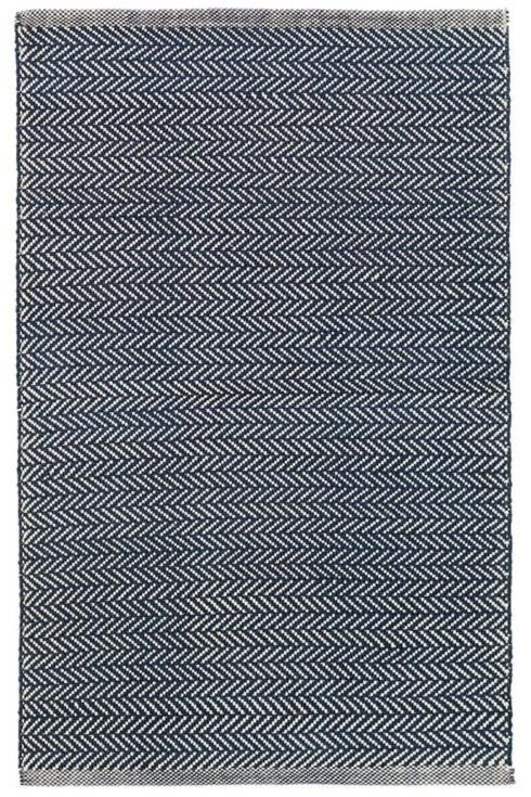 $154.00 Herringbone Indigo 4X6 Cotton Rug