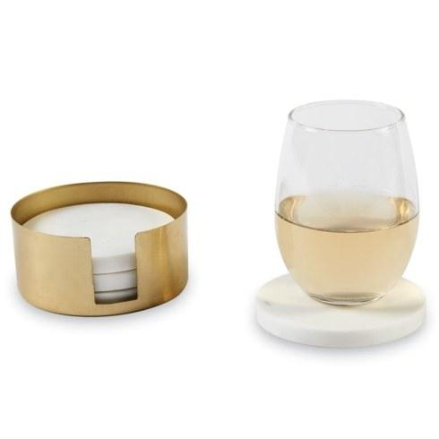 $27.00 Marble Coaster & Brass Holder Set