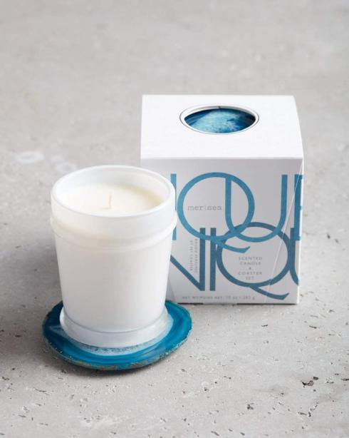 $48.00 Pique-Nique Boxed Candle & Agate Coaster