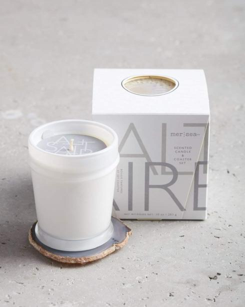 $48.00 Saltaire Boxed Candle & Agate Coaster