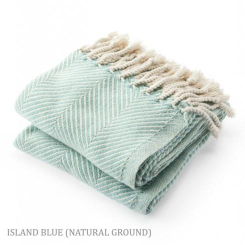 Monhegan Cotton Throw in Natural/IslandBlue
