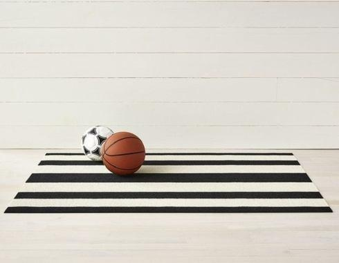 $80.00 Bold Stripe Black/White 24X36 Doormat