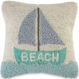 $32.00 Sailboat Beach Hooked Pillow