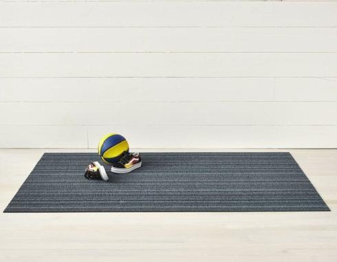 $55.00 Skinny Stripe Blue Shag 18X28 Doormat