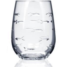 $18.00 School Of Fish Stemless Wine Glass 17oz.