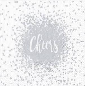$6.95 Cheers Paper Cocktail Napkins in Silver