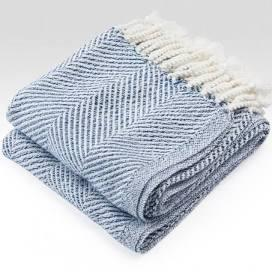 $243.00 Monhegan Cotton Throw in White/Navy