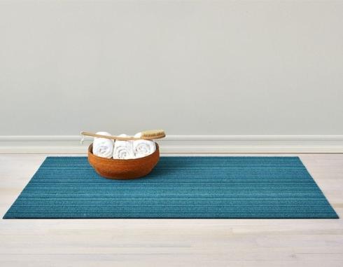 $55.00 Skinny Stripe Turquoise Shag 18X28 Doormat
