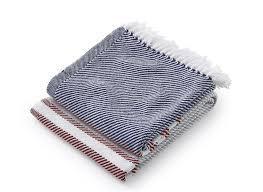 $243.00 Allagash Cotton Throw in NavyClaret/DoveGrey