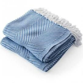 $243.00 Monhegan Cotton Throw in White/Denim