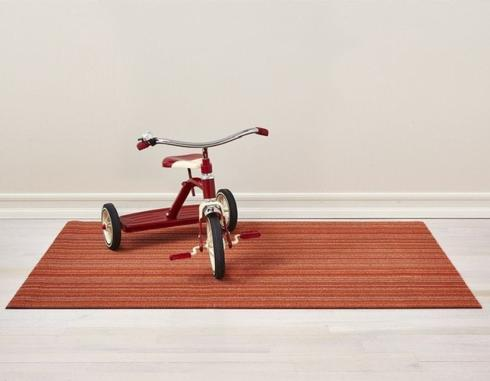 $55.00 Skinny Stripe Orange Shag 18X28 Doormat