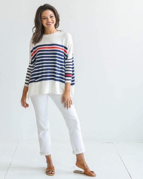 $89.00 Catalina Sweater/STRIPED NAVY&RED