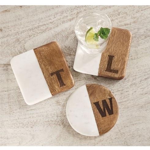 $24.00 Marble & Wood Initial Coaster Set