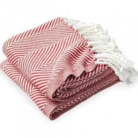 $243.00 Monhegan Cotton Throw in White/Coral