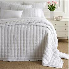 $568.00 Queen Lush Linen White Puff Quilt