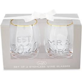 $26.00 Mr. & Mrs. Embossed Wine Glass Set