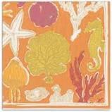 $6.95 Sealife in Coral Paper Cocktail Napkins