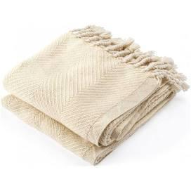 $243.00 Monhegan Cotton Throw in Natural/Almond