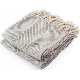 $243.00 Monhegan Cotton Throw in Natural/GreyHeather