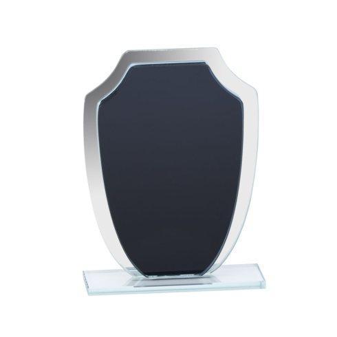 "$0.00 Black & Mirror Shield Trophy 7.25"" H"