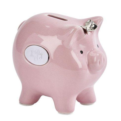 "$30.00 Ceramic Pig Bank w/Silver Bow 4.75"" x 3.5"" x 5.5"""
