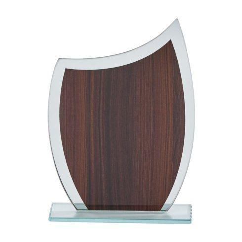 "$0.00 Glass Trophy w/Wood Grain Panel, 8"" H"