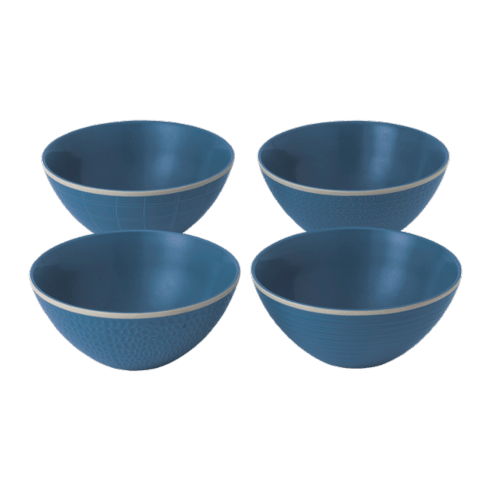 $44.00 Maze Grill Mixed Blue Cereal Bowls