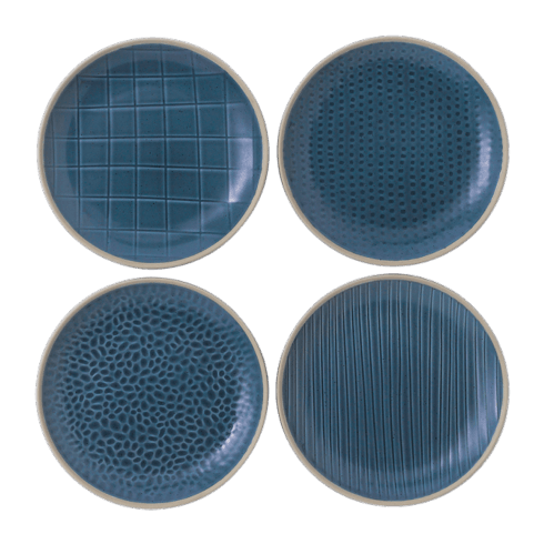 $33.00 Maze Grill Mixed Pattern Blue Accent Plates (Set of 4)