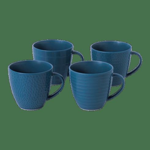 $37.00 Maze Grill Mixed Pattern Blue Mug (Set of 4)