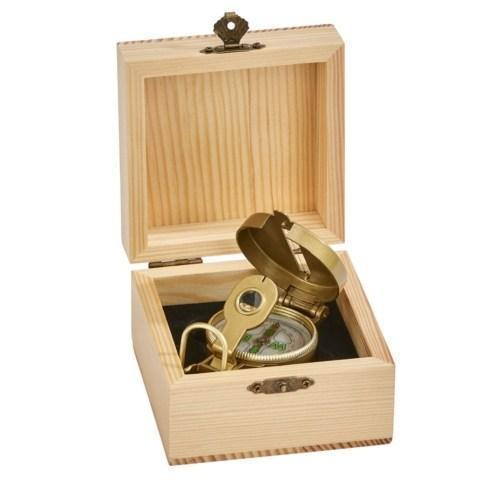 "$40.00 Natural Wood Box w/Compass, 4"" x 4"" x 2.5"""