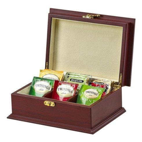 $65.00 ROSEWOOD FINISHED WOOD TEA BOX WITH 6 COMPARTMENTS