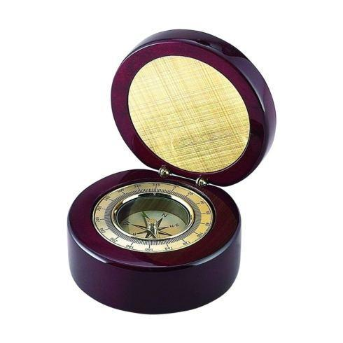 $40.00 ROUND WOOD BOX WITH COMPASS IN PIANO FINISH