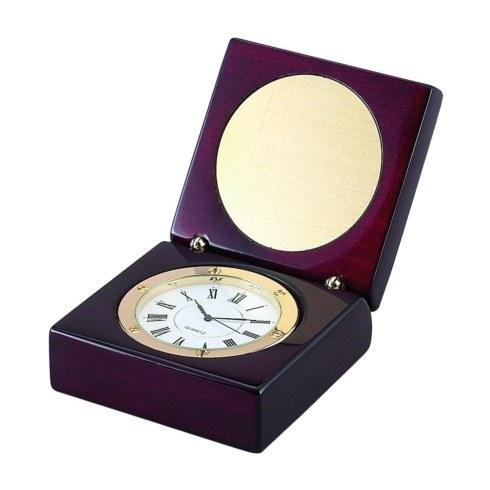 $45.00 SQUARE WOOD BOX WITH CLOCK IN PIANO FINISH