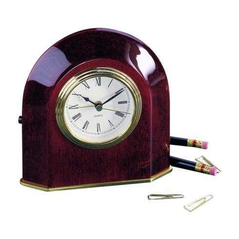 $80.00 WOOD ARCH CLOCK IN PIANO FINISH