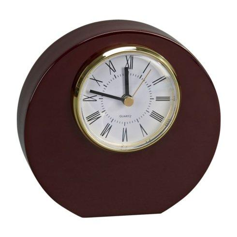 $55.00 WOOD ROUND DISC SHAPED CLOCK WITH PIANO FINISH