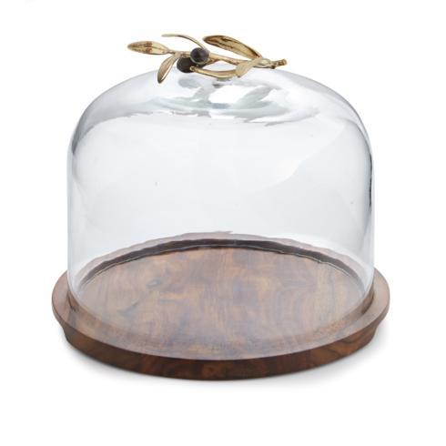 Michael Aram  Olive Branch Glass Dome w/ Wood Base $150.00