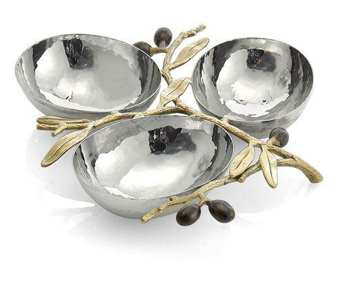 Michael Aram  Olive Branch Gold Triple Compartment Dish $175.00