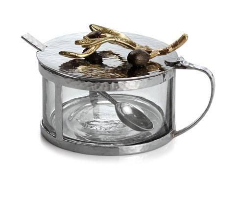 Michael Aram  Olive Branch Gold Covered Condiment Containter W/ Spoon $100.00