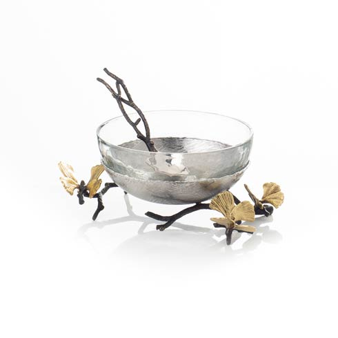 Glass Nut Dish with Spoon