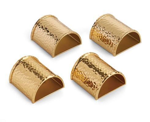 Michael Aram  Hammertone Napkin Ring Set Goldtone $100.00