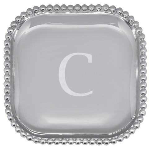 Mariposa Serving Trays and More Mariposa Initial Program C Pearled Square Platter $89.00