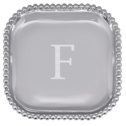 Mariposa Serving Trays and More Mariposa Initial Program F Pearled Square Platter $89.00