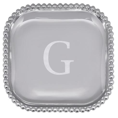 Mariposa Serving Trays and More Mariposa Initial Program G Pearled Square Platter $89.00