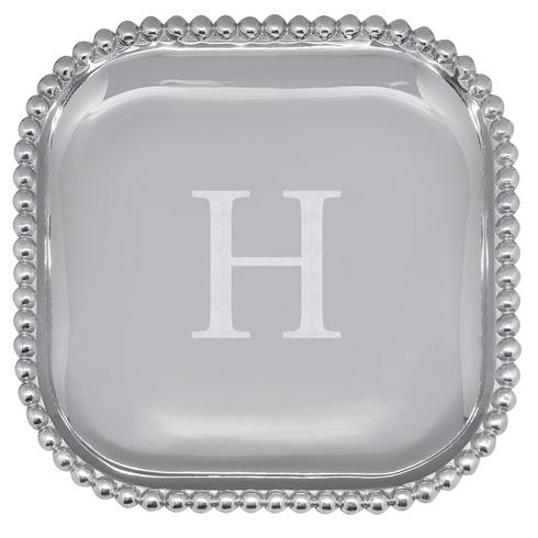 Mariposa Serving Trays and More Mariposa Initial Program H Pearled Square Platter $89.00